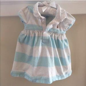 Ralph Lauren 9 Month Aqua Rugby Stripe Dress.